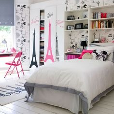 modern teenage bedroom ideas for small rooms cool modern teen girls bedroom ideas small bedroom design ideas french chic theme Bedroom Decor For Paris Rooms, Paris Bedroom, Parisian Room, Teenage Girl Bedroom Designs, Teenage Girl Bedrooms, Tween Girls, Teen Rooms, Youth Rooms, Kids Girls