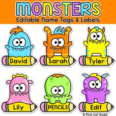 Your classroom door, bulletin boards and lockers will be the talk of the school when you use these fun monsters name tags and labels to decorate! Fun classroom decor for kindergarten or first grade teachers. Classroom Labels, Classroom Jobs, Classroom Organisation, Preschool Classroom, Classroom Decor, Classroom Activities, Kindergarten, Classroom Management, Monster Bulletin Boards