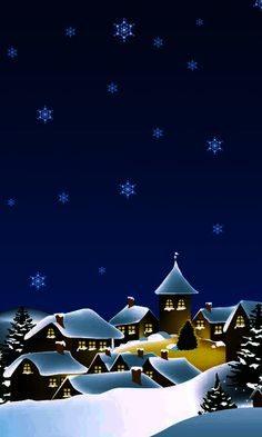 Картинка новогодняя ночь Merry Christmas In Polish, Dark Christmas, Merry Christmas Everyone, Christmas Art, Christmas Greetings, Holiday Cards, Wallpaper Natal, Iphone Wallpaper, Illustration Noel