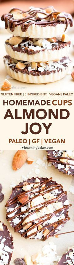 Homemade Almond Joy Cups (Paleo, V, GF): a 5-ingredient recipe for rich, nutty Almond Joy cups layered in velvety chocolate. #Paleo #Vegan #GlutenFree #5Ingredient | BeamingBaker.com