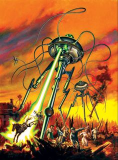"The War of the Worlds in ""Adventure Classics"" magazine. Space Fantasy, Sci Fi Fantasy, Science Fiction Books, Pulp Fiction, Classic Sci Fi, Futuristic Art, Sci Fi Books, Fantasy Movies, Sci Fi Art"