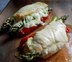 2 thin cut chicken breasts, asparagus, roasted red peppers and laughing cow cheese bake at 350 for 30 minutes.