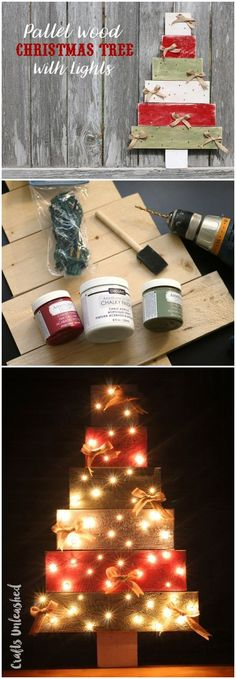 Light Up Pallet Wood DIY Tree. I'm going to have to try this. I'll post it later here: https://www.instagram.com/kellys_sakurajams/