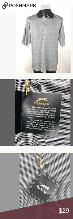 """🏌🏽♂️Slazenger Polo Shirt Medium Golf Slazenger Polo Shirt  Medium  Herringbone pattern  Black and White  Slazenger logo on one sleeve  Shoulder to Bottom: 30.5""""  Closure: 4 button front  Short sleeves: 12.5""""  Armpit to Armpit: 22""""  The shirt is new with Tags. Thank you for viewing this listing! Slazenger Shirts Polos"""