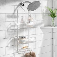 Great for Metal Shower Caddy by Rebrilliant storage-sale from top store Bathtub Shower, Shower Floor, Porta Shampoo, Easy Bathroom Updates, Tile Tub Surround, Hanging Shower Caddy, Standing Shower, Shower Shelves, Glass Shower Doors