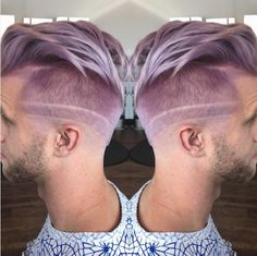 This etched lavender cut. 21 Fierce AF Haircuts That Will Look Good On Anyone Undercut Hairstyles, Boy Hairstyles, Mens Hair Colour, Hair Color, Hair And Beard Styles, Short Hair Styles, Teintes Pastel, Haircut Designs, Lavender Hair
