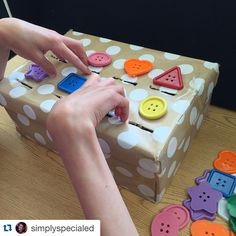 A great DIY activity to practice shapes and sorting! You could also sort by colors or set up other activities in a similar manner. Love the simple idea of dividing a shoebox for sorting compartments. Great for kids who are blind or visually impaired!