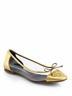 7f8f00b3e8e3 Saint Laurent Dance Metallic Leather Ballet Flats  445 Gold Ballet Flats