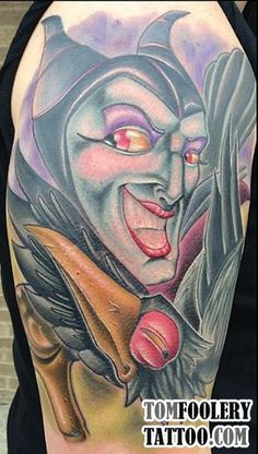 Awesome New Skool Maleficent Tattoo by Tom Muron: http://tomfoolerytattoo.com/maleficent-tattoo/