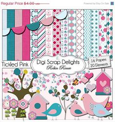 Digital Scrapbook Kits: Tickled Pink (Pink and Blue Birds) Buy 2 Items Get 1 Free Special