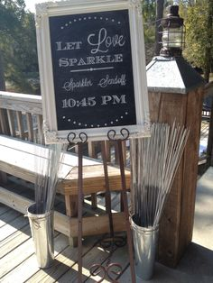 Wedding sparklers; wedding chalkboards
