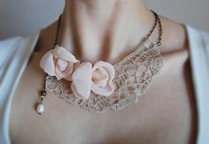 OOAK Linen Necklace KATE. Ready to ship . by magdalinen on Etsy, $65.00