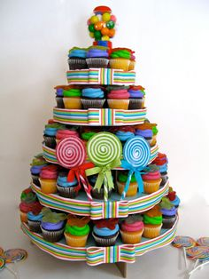 Candy Theme Cupcake Tower