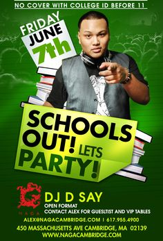 School's Out! So let's party! Naga is opening our doors to college students this Friday. We are offering complimentary admission for all students that present their Student ID before 11PM         Naga Night Club  450 Massachusetts Ave.  Cambridge, MA 02139  Tables/Info – Bottle Specials available, contact jason@nagacambridge.com or 857.991.7164 Website: www.nagacambridge.com  Like us on Facebook: Naga  Follow us on Twitter: nagacambridge