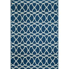 Perfect for your living room or patio, this indoor and outdoor area rug features a lovely, Moroccan-inspired design in navy and white. Constructed from 100 percent polypropylene, this rug is resistant to all types of weather conditions.