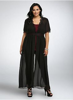 "<p>You're no drama queen, but this statement-making tunic will have you demanding a standing O. Black, semi-sheer chiffon has a Victorian-inspired edge thanks to lace trim along the bust and sleeves. The button front breaks into an open style, letting the duster-length create a cascading look.</p>  <ul> 	<li>Size 1 measures 60"" from shoulder</li> 	<li>Polyester</li> 	<li>Wash cold, dry low</li> 	<li>Imported plus size top</li> </ul>"