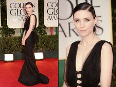 Rooney Mara - bad posture or doesn't look comfy? Bustle, fringe, cut outs, bows, tulle - busy and awkward.