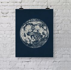 Full Moon Vintage Art Print Reproduction - Old Antique Lunar Illustration - Space Astronomy Art - La Luna - Dorm - Moon Poster - SKU: 144-N by BySamantha on Etsy