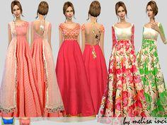 Floral Anarkali Set by melisa inci at TSR via Sims 4 Updates