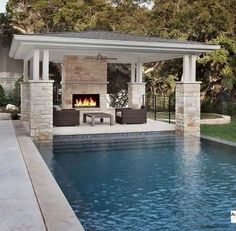 25 Popular Pool House, Cabana, and Patio to Refresh your Day interiorYou c. Small Backyard Pools, Backyard Pool Landscaping, Backyard Pool Designs, Outdoor Pool, Landscaping Ideas, Backyard Barn, Courtyard Pool, Barn Pool, Pergola Designs