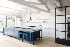 Blue Kitchen by Plain English , house in West Wittering British Kitchen Design, British Standard Kitchen, Plain English Kitchen, English Kitchens, English Cottage, English House, West Wittering, Layout, Bespoke Kitchens