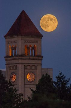 Spokane Clocktower Moonrise
