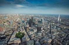 This image of the business heart of the capital, one of London's most expensive districts, shows a maze of glass towers
