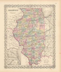 vintage map of Illinois State historic old map of Illinois State historical map of Illinois State Old Maps, Antique Maps, Vintage World Maps, Dutch Colonial Homes, Genealogy Sites, Map Globe, Illinois State, Historical Maps, Family History