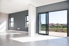 1058 on Schapejacht - Crontech Consulting Open Plan, Bulkhead Ceiling, Grey Gloss Kitchen, Built In Braai, Grey Interior Design, Modern Shelving, Country Estate, Display Shelves, Home Builders