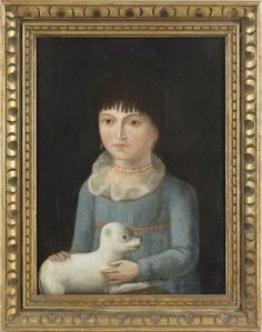 Folk art painting of a girl and her dog, c. 1830