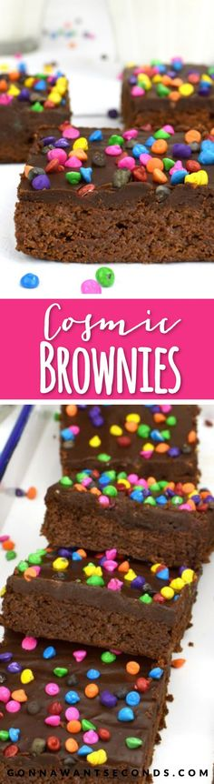 Rich, fudgy Brownies topped with a wonderfully thick, chocoate ganache frosting. These are an amazing homemade copycat version of Little Debbies Cosmic Brownies!