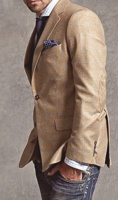 Khaki sport coat  jeans - classic casual chic - Give the gift of style. get it at http://www.catherinekeers.jhilburn.com