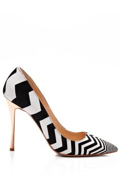 Black And White Zig Zag Pump by Nicholas Kirkwood