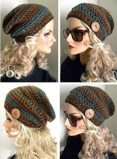 Boho Chic Woodland Colors Slouchy Beanie Hat by FreeSpiritHats Slouchy Beanie Hats, Crochet Slouchy Hat, Crochet Hats, Beanies, Hat And Scarf Sets, Winter Hats For Women, Boho Chic, Boho Style, Hand Crochet
