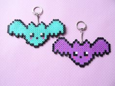 Pastel Goth Bat Perler Bead Keychain Kawaii Fairy by TokyoBunni - http://www.mariadiazdesigns.com/mdd/shop.php?showid=233