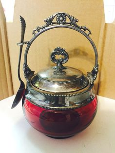 GORHAM VICTORIAN 1881 SILVER & CRANBERRY GLASS JAM JAR HONEY POT w SPOON