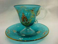 ANTIQUE SALVIATY VENETIAN ART GLASS ENAMEL PEDESTAL CUP & SAUCER