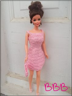 Crochet Barbie Clothes Pink Spaghetti by BarbieBoutiqueBasics