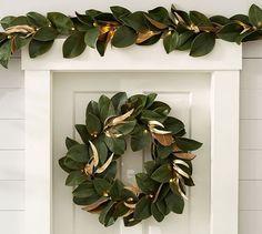 Lit Magnolia Wreath #potterybarn