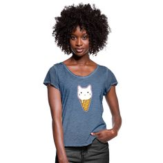 Geschenke Shop | Katzen Eis Süße Katze Lustige Katze Katzenliebe - Frauen T-Shirt mit Flatterärmeln Shirt Diy, Unisex, Shirts For Girls, Design, Fashion, Baggy Tee, Full Sleeve T Shirts, Full Sleeves, Hooded Jacket