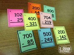 Subtracting with Zeros - FREE task cards and a super easy tip for teaching it!