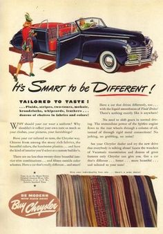 1941 Blue Chrysler Windsor Convertible Highlander Plaid interior 1940s Car Ad