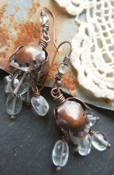 Earrings by Keirsten Giles Lune Artisan Jewelry: learn how to forge copper tulip shapes Metal Jewelry Handmade, Mixed Metal Jewelry, Artisan Jewelry, Custom Jewelry, Gypsy Jewelry, Jewelry Art, Beaded Jewelry, Jewelry Ideas, Jewelry Casting
