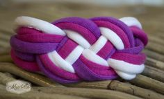 Pink, Purple and White braided bracelet crocheted with tshirt yarn and beads. Recycled Fabric Bracelet #handmade #crochet #trapillo #knotted https://www.etsy.com/uk/listing/200424114/various-colours-cordelia-braided-set?ref=listing-shop-header-2
