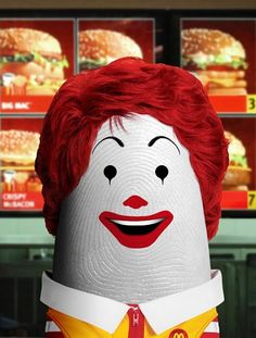 Ronald McDonald (Clown Character, Mascot of the McDonald's)    Dito Von Tease - Portraits of Famous People in Fingers ... Click To Read More!      #Arts #DigitalArts #Portraits #Funny #Humor  #FamousPeople #PopCulture #McDonald