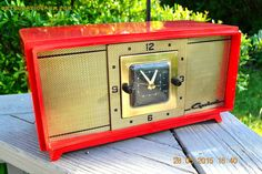 SOLD! - Aug 24, 2015 - ROSE RED Retro Jetsons Vintage 1959 Capehart Model 75C56 AM Tube Clock Radio Totally Restored!