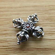 925 Sterling Silver Thai Silver Cross Vajra Charm DIY Findings LFJ35