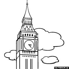 100% free coloring page of Big Ben, London, england. Color in this picture of Clock Tower Big Ben and other Famous Places! You can save your colored pictures, print them and send them to family and friends!