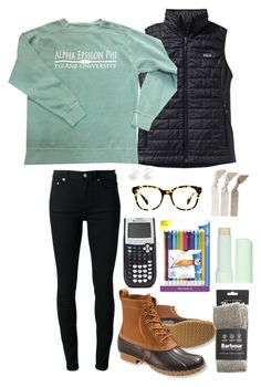 """""""PSAT's tomorrow:/"""" by hbcernuto ❤ liked on Polyvore featuring BLK DNM, Patagonia, L.L.Bean, Barbour, Paper Mate, Eos, Warby Parker and Emi-Jay"""