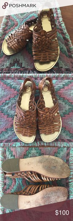 Tory Burch Tan Haurache Sandals Size 8 Size 8 genuine leather Tory Burch Huaraches. Great condition only worn twice. No box. Tory Burch Shoes Sandals